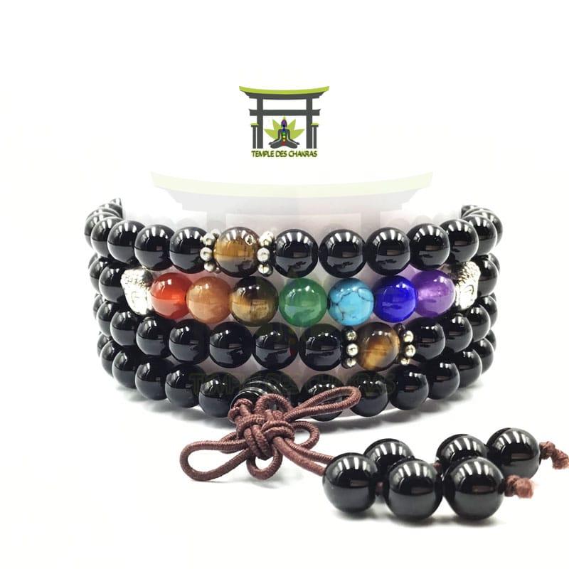 Bracelet Mala 7 Chakras De Guérison En Onyx