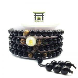 Bracelet Mala Dragon Lumineux en Onyx Noir