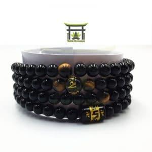 Bracelet Mala Onyx Noir 108 Perles Naturelles du Brésil