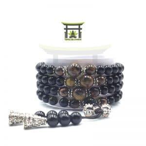 Bracelet Mala en Obsidienne Noire et Œil de Tigre
