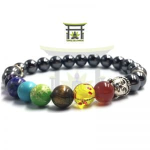 Bracelet Tête de Bouddha 7 Chakras en Hématite
