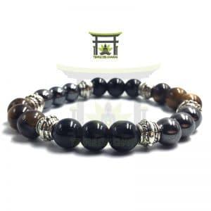 Bracelet Protection en Obsidienne Noire Hématite et Œil de Tigre