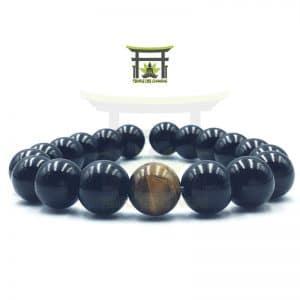 Bracelet d'Énergie en Œil de Tigre et Onyx Noir