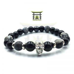 Le Conquérant bracelet en Onyx Noir, Larvikite et Hématite
