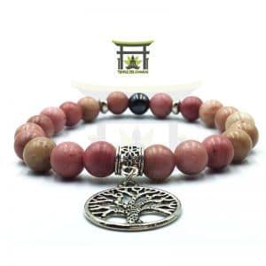 Bracelet Arbre de Vie en Rhodochrosite et Hématite