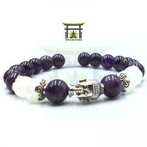 Bracelet Bouddha en Améthyste et Cristal de Roche