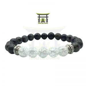 Le Splendide Bracelet en Larvikite et Cristal de Roche