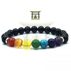 Bracelet 7 Chakras En Obsidienne Noire