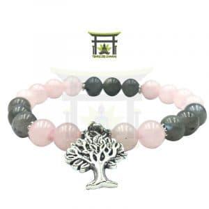 Bracelet Protection En Quartz Rose Et Labradorite