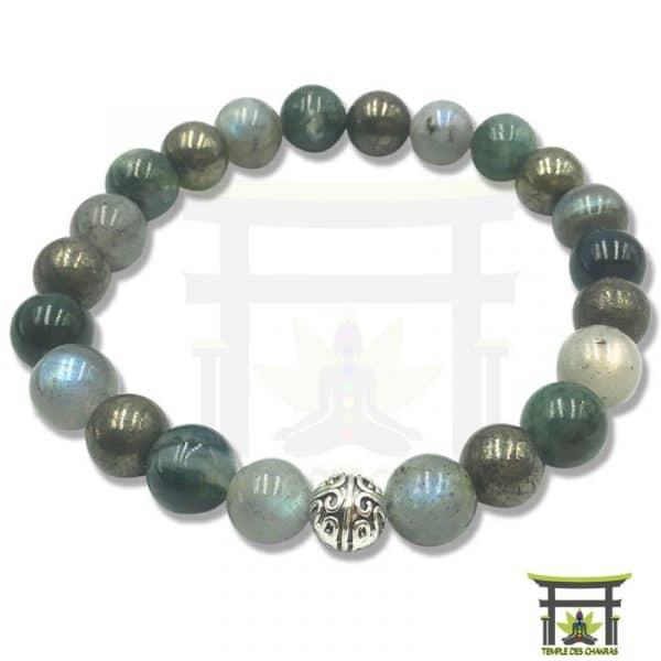 bracelet chance et protection en pierre naturelle de pyrite, labradorite et agate mousse