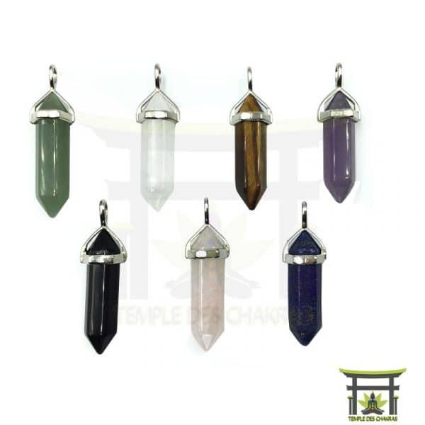Pendentif hexagone en pierre naturelle, agate noire, améthyste, aventurine verte, cristal de roche, lapis lazuli, œil de tigre et quartz rose