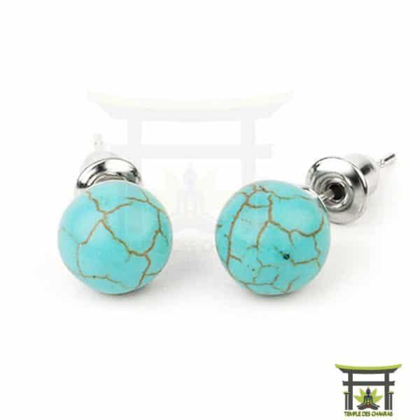 Boucles d'oreilles Boules en Pierres Naturelles en Turquoise