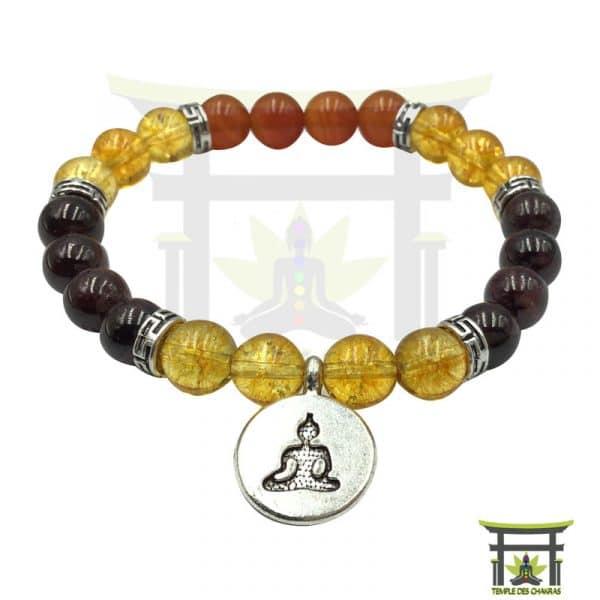 bracelet positivité et vitalité en cornaline, citrine et grenat
