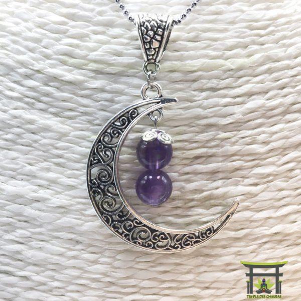 Pendentif Croissant de Lune en améthyste