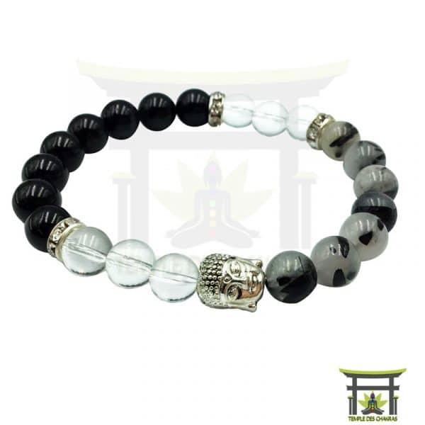 Bracelet Tourmaline épanouissement et protection en tourmaline noire, quartz tourmaline et cristal de roche