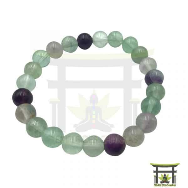 Bracelet Fluorite en pierre naturelle, lithothérapie, yoga, méditation